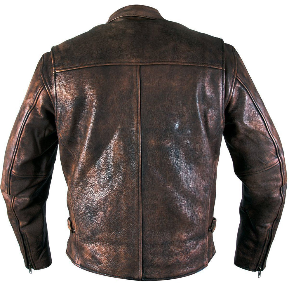 Xelement XS-39155 Men's 'Uproar' Distress Brown Premium Leather Motorcycle Jacket with Gun Pocket