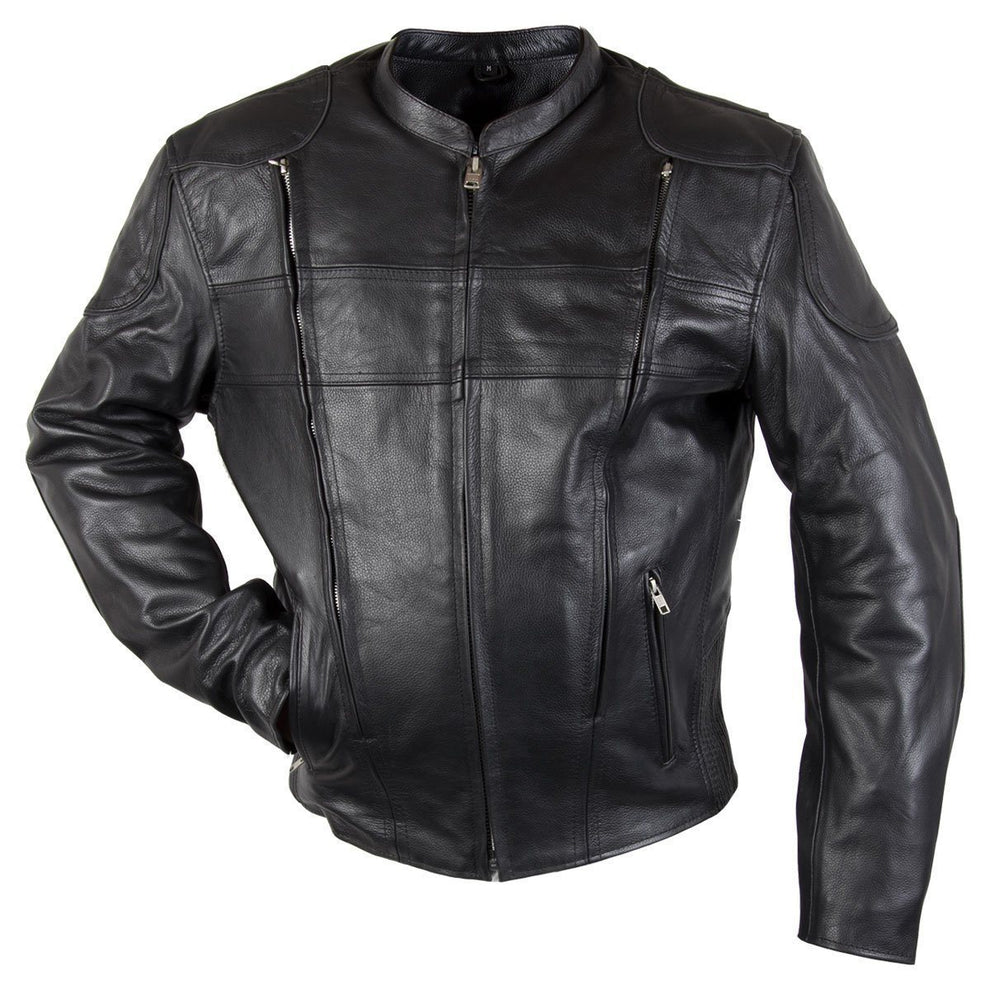 80707a856 Xelement XS-6229 'Turbulent' Men's Black Armored Leather Motorcycle Jacket  - Black / 2X-Large