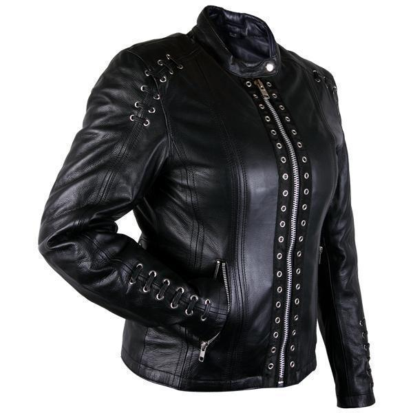 Xelement XS631 'Raven' Ladies Black Premium Cowhide Leather Jacket with Gun Pocket and Zip-Out Liner