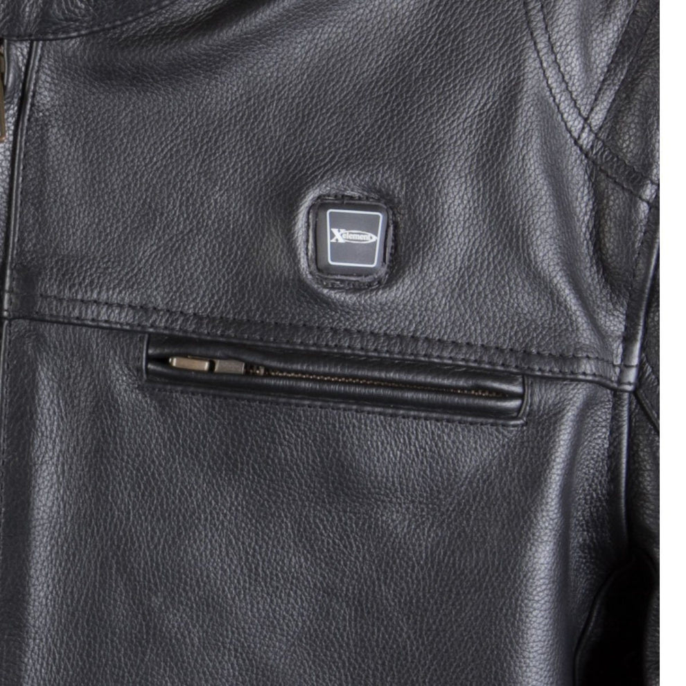 Xelement XS-63555  'Hell Rider' Men's Black Leather Heated Motorcycle Armored Jacket with Gun Pocket
