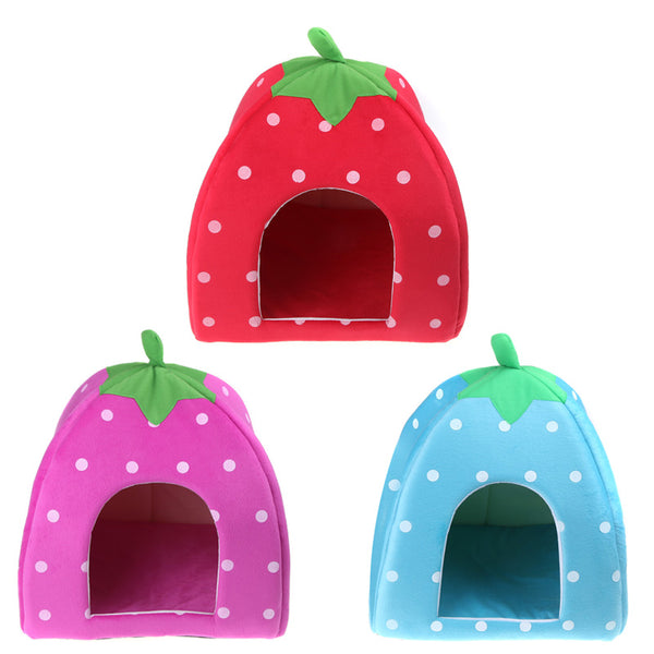 Strawberry Warm Cushion Soft Foldable Kennel
