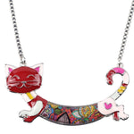 Bonsny Statement Cat Enamel Necklace