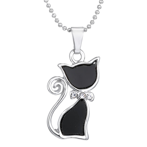 Silver Plated Rhinestone Crystal Cute Cat Pendant Necklace