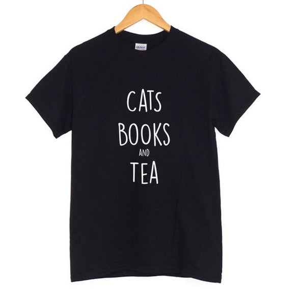 Cats, Books and Tea Letters Print Women Cotton T-Shirt