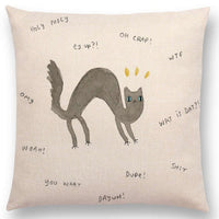 Crazy Letters Cat Throw Pillow Cases