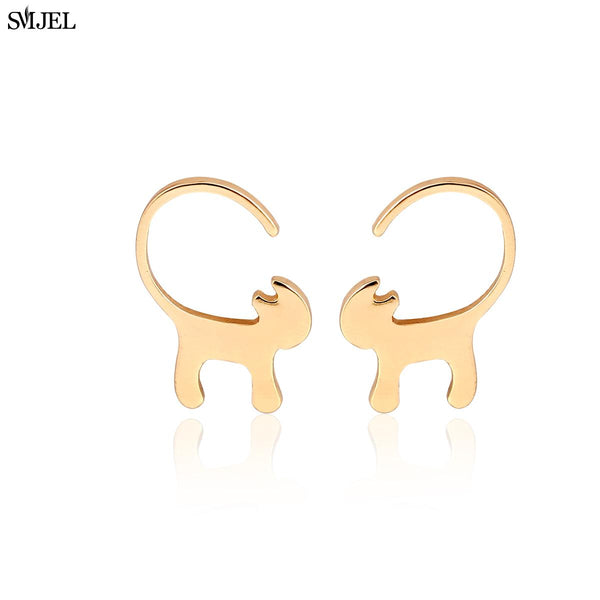 Long Tail Tiny Cat Stud Earrings for Women