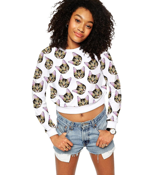 Women's Casual O-Neck Cat Crop Top Sweatshirt