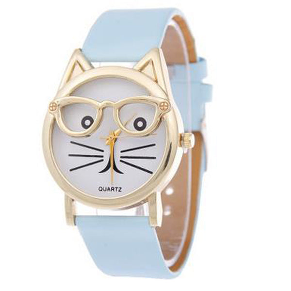 Analog Quartz Wrist Watch with Cute Glasses Cat (3 Colors)