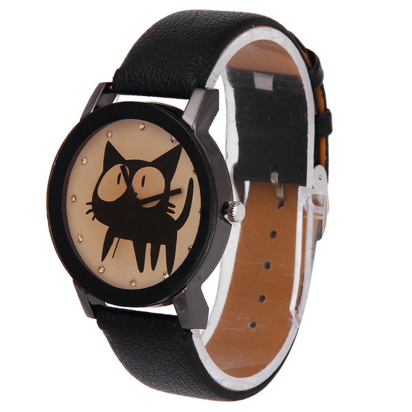Cat Crystal Imitation Leather Quartz Wrist Watch