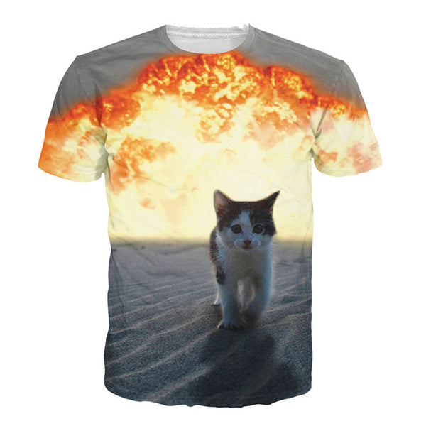 Badass Cat Secret Agent Explosion T-Shirt