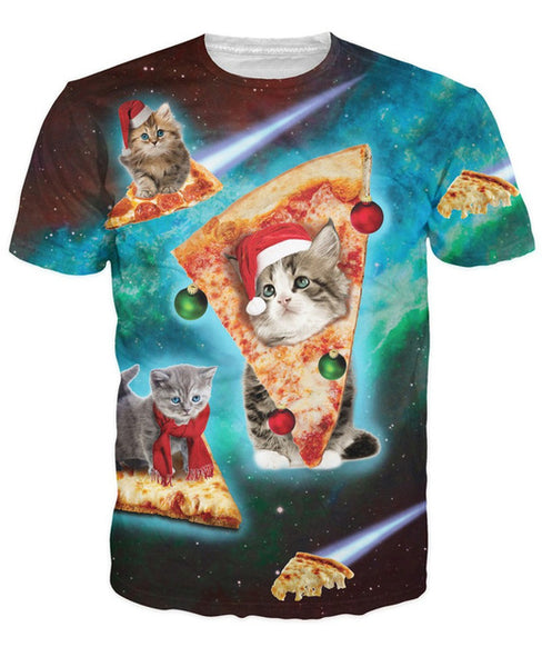 Pizza Ornament Christmas Cat T-Shirt
