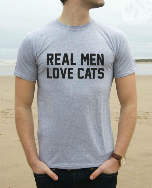 Real Men Love Cats Print Men T shirt