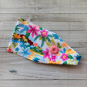 Hawaiian Floral Headband with Buttons