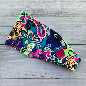 Funky Neon Paisley Headband with Buttons