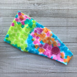 Neon Squares Headband with Buttons