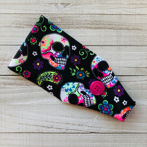 Neon Sugar Skulls Headband with Buttons