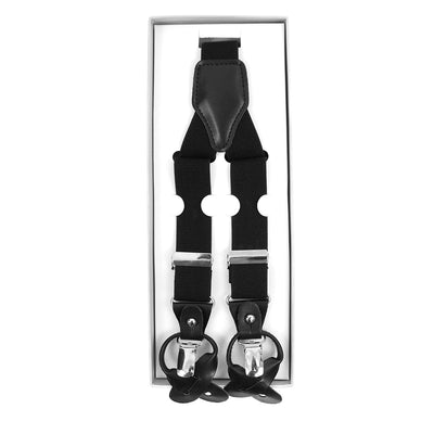 Men's Convertible Button Strap and Clip-On Suspenders with Leather Trim - Groomsmen Gift - Black