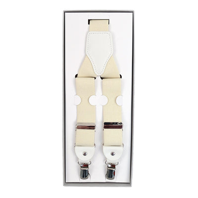 Men's Convertible Button Strap and Clip-On Suspenders with Leather Trim - Groomsmen Gift - Off White