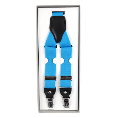Men's Convertible Button Strap and Clip-On Suspenders with Leather Trim - Groomsmen Gift - Turquoise
