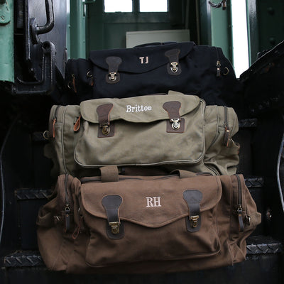 Military Style Weekend Travel Bag Long Weekender Bags – Personalized Groomsmen Gift