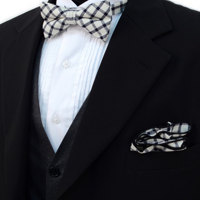 Men's Black Beige Plaid Cotton Bow Tie & Matching Pocket Square - Groomsmen Gift