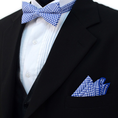 Men's Blue Plaid Cotton Bow Tie & Matching Pocket Square - Groomsmen Gift