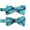 Men's Turquoise Plaid Cotton Bow Tie & Matching Pocket Square - Groomsmen Gift