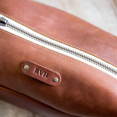 Custom Groomsmen Gift, Leather Shave Kit, Leather Travel Bag with Zipper - The Dopp Bag
