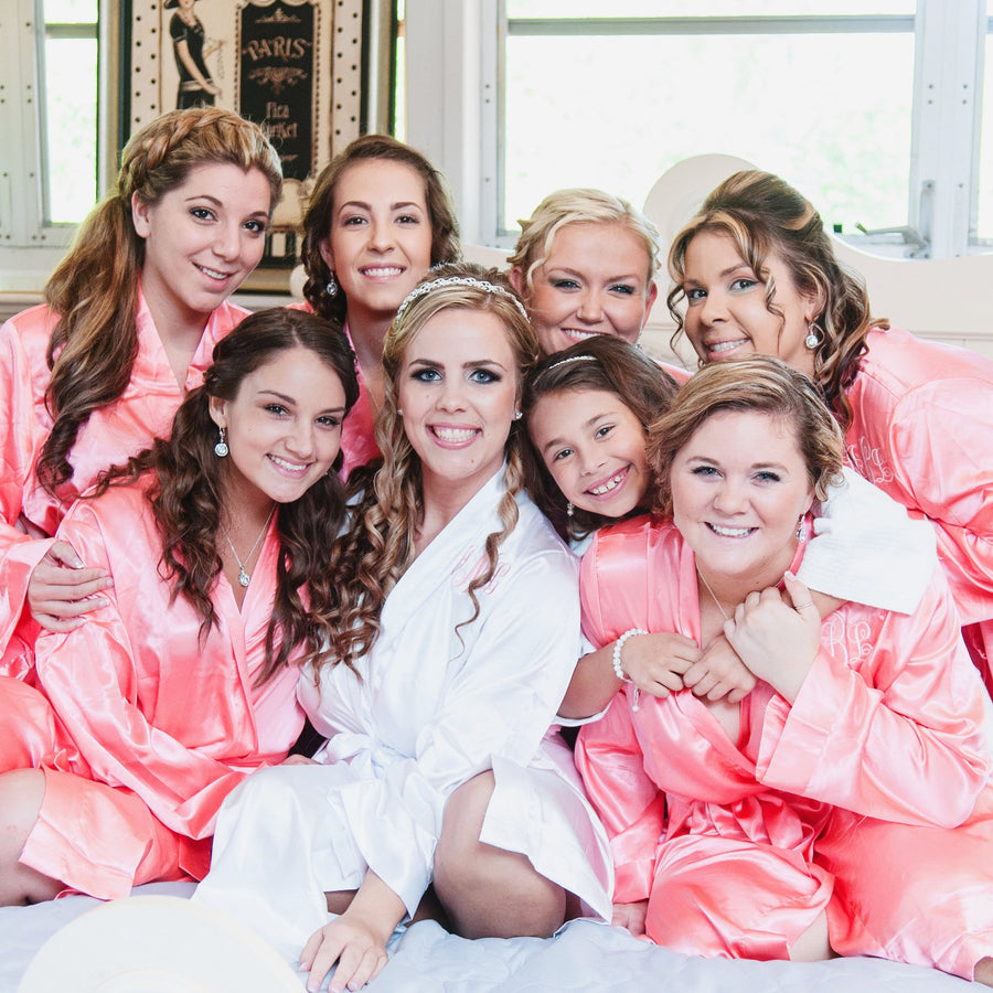 PLUS SIZE Personalized Satin Robe // Bridesmaid Gift