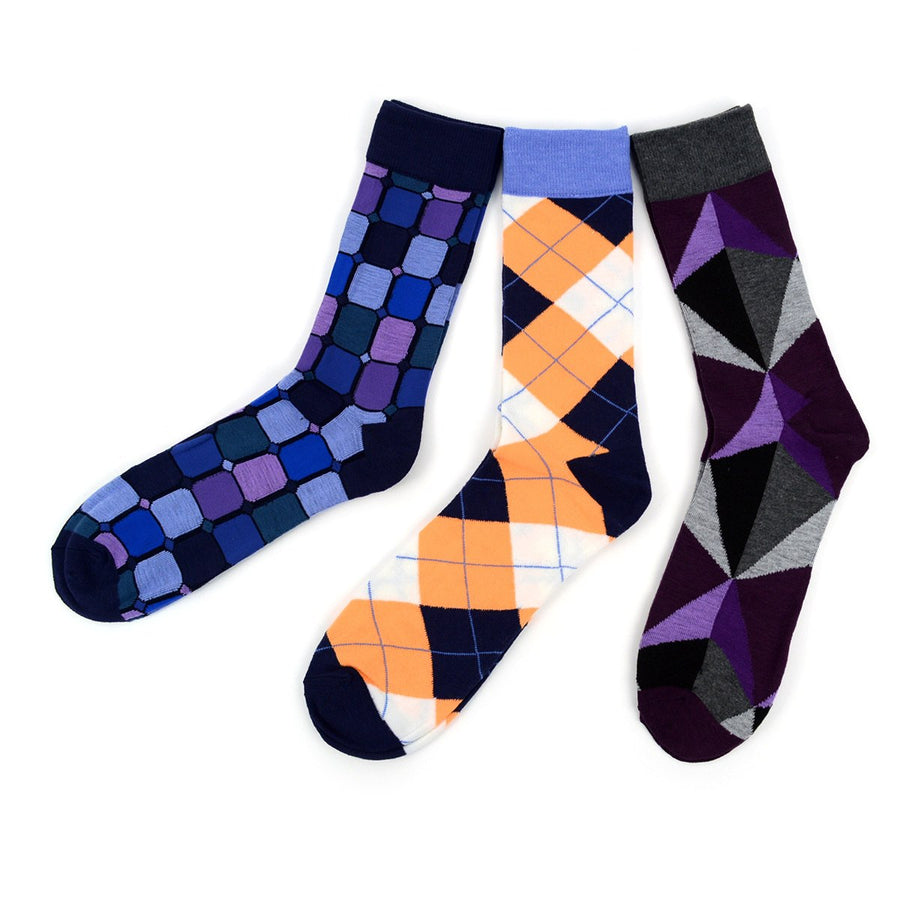 Men's Fun Novelty Socks Argyle (3 Pairs) - GROOMSMEN GIFT