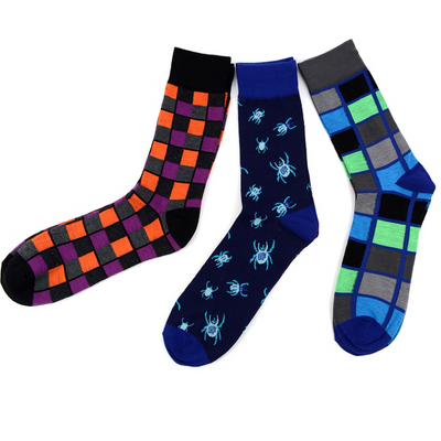 Men's Fun Novelty Socks Spiders (3 Pairs) - GROOMSMEN GIFT