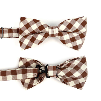 Men's Brown Beige Plaid Cotton Bow Tie & Matching Pocket Square - Groomsmen Gift