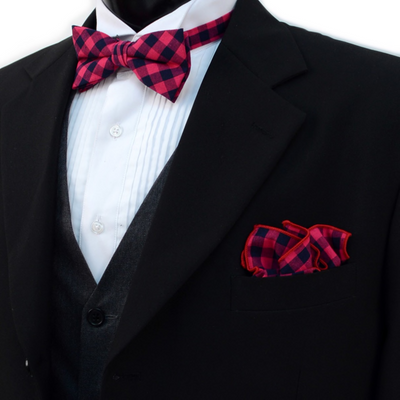 Men's Fuchsia Plaid Cotton Bow Tie & Matching Pocket Square - Groomsmen Gift
