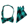 Men's Green Plaid Cotton Bow Tie & Matching Pocket Square - Groomsmen Gift