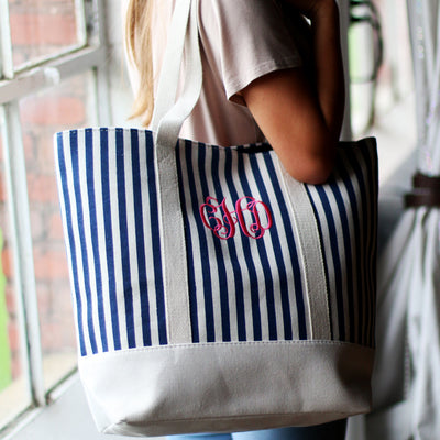 STRIPE CANVAS TOTE WATER RESISTANT -PERSONALIZED BRIDESMAIDS BRIDAL PARTY GIFTS