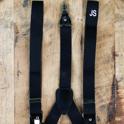 Men's Convertible Button Strap and Clip-On Suspenders with Leather Trim - Groomsmen Gift - White