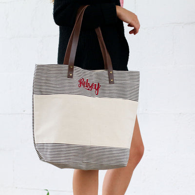 Personalized Stripe Two Toned Canvas Tote - Bridesmaid Gift