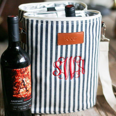 Stripe Wine Tote Cooler -Personalized Bridesmaid Bridal Party Gifts