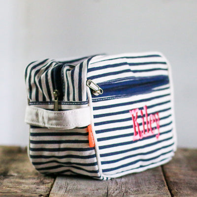 Personalized Striped Canvas Travel Kit Cosmetic Bag - Bridesmaid Bridal Party Gift