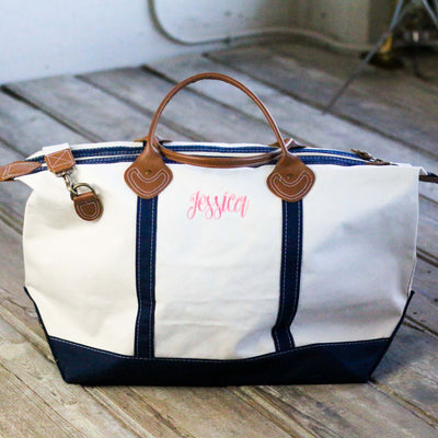 Weekend Travel Overnight Navy and Canvas Bag – Personalized Bridesmaids Bridal Party Gifts