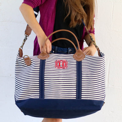 The Weekend Travel Overnight Navy Stripe Bag – Personalized Bridesmaids Bridal Party Gifts