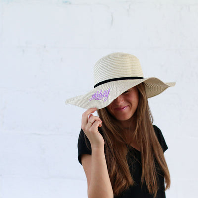 Women's Wide Brim Floppy Sun Hat with Ribbon Bowknot - Bridesmaid Gift