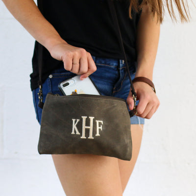Personalized Waxed Canvas Crossbody Clutch - Bridesmaid Gift