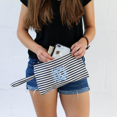 Personalized Stripe Canvas Clutch Cosmetic Bag - Bridesmaid Gift