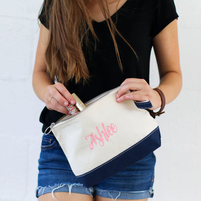Personalized Two-Toned Canvas Cosmetic Bag - Bridesmaid Gift