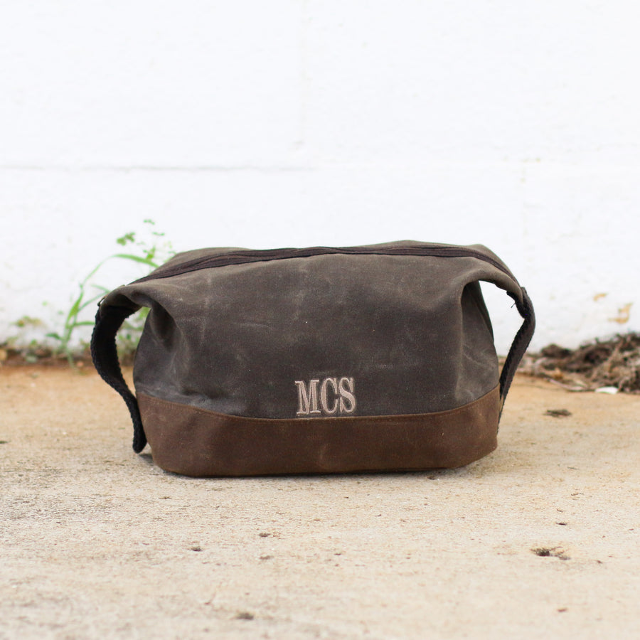 Waxed Canvas Two Toned Dopp Kit Olive - Personalized Groomsmen Gift