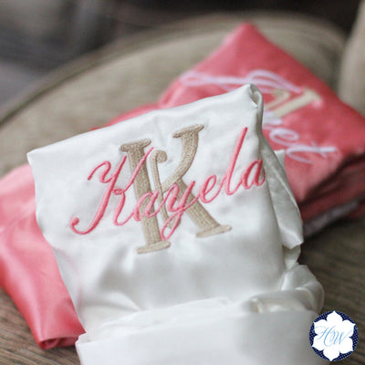 Personalized Satin Lace Robe – Bridesmaid Bridal Party Gifts