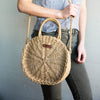 Two-handle Straw Circle Bag Cross Body Purse Tote - Bridesmaid Gift