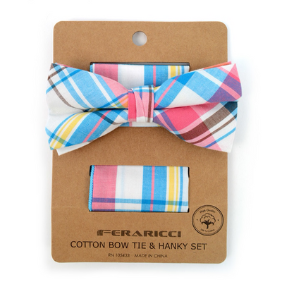 Men's Pastel Colors Plaid Cotton Bow Tie & Matching Pocket Square - Groomsmen Gift