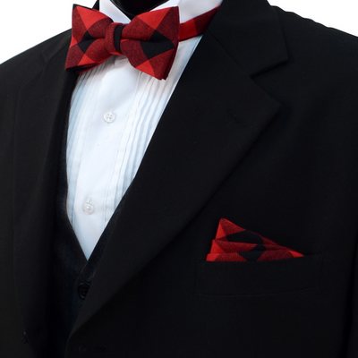 Men's Red and Black Plaid Cotton Bow Tie & Matching Pocket Square - Groomsmen Gift